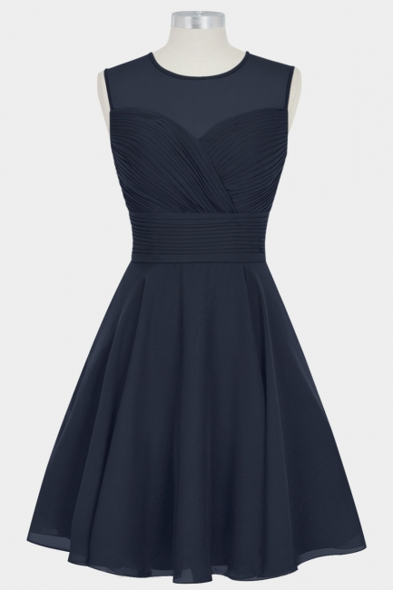 Fall Chiffon Round Neck Sleeveless Bridesmaid Dresses UK with Ruffles