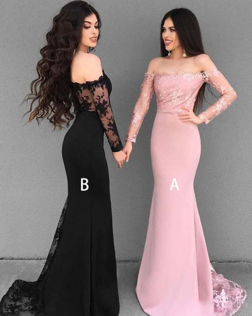 Modest Lace Sexy Trumpt Evening Dresses | Off-The-Shoulder Winter Bridesmaid Dresses UK