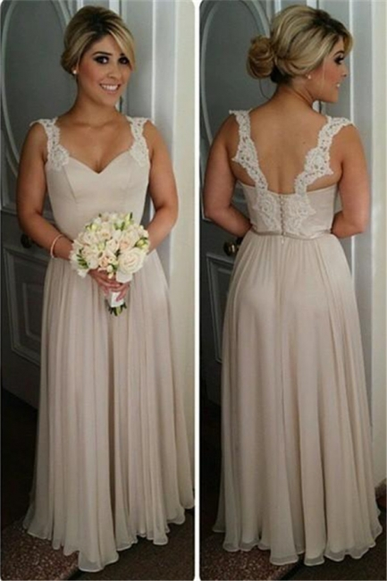 Lace Straps Summer Chiffon Bridesmaid Dresses UK Cheap Floor Length Wedding party Dress