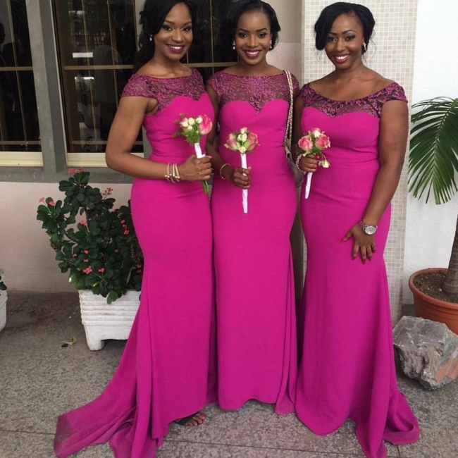 Fuchsia Sexy Trumpt Bridesmaid Dresses UK | Capped Sleeves Maid of The Honor Dress