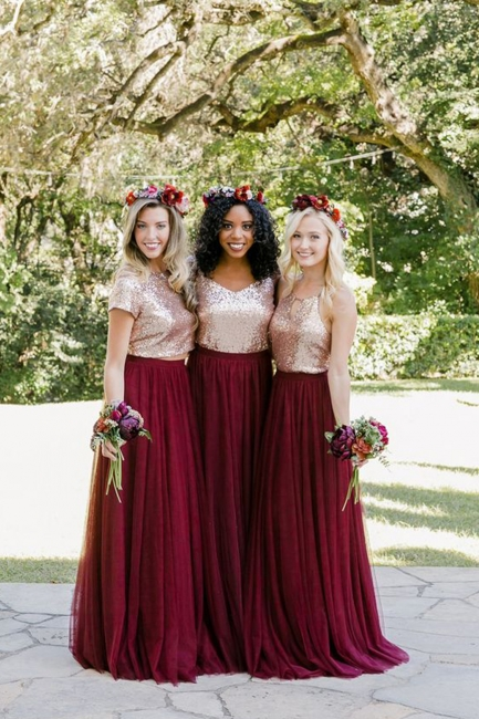 Long Sequin Bridesmaid Dresses UK, chiffon Burugndy Bridesmaid Dress