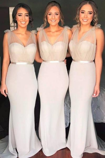 Sexy Trumpt Tulle Bridesmaid Dresses UK,Floor Length Bridesmaid Dress with Belt