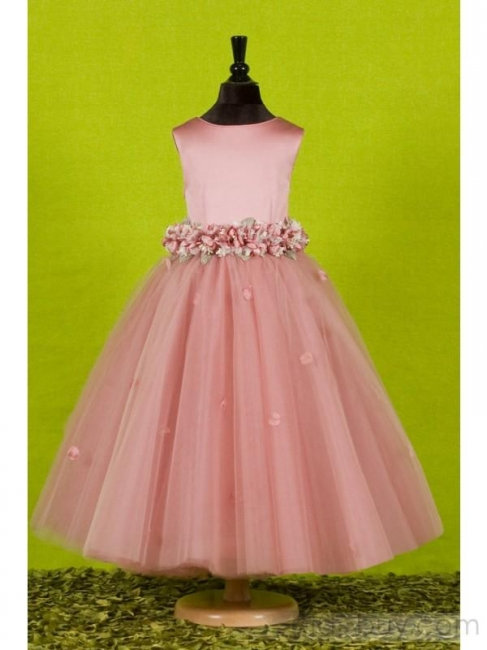 Attractive Puffy Ankle-length Round-neck Flowers Embellishing UK Flower Girl Dress