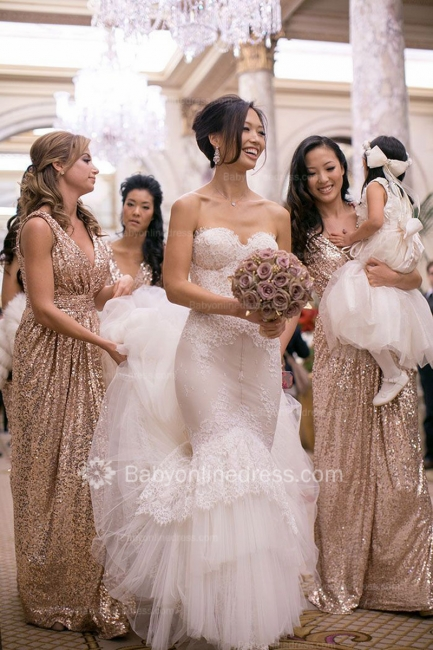 V-Neck Sequined Column Bridesmaids Dresses Ruffles Open Back Party Dresses