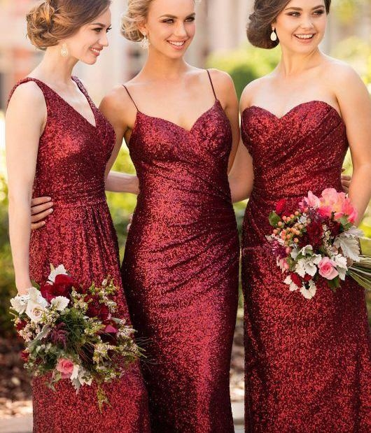 Cheap Burgundy Mix & Match Bridesmaid Dress,Long Sequin Bridesmaid Dress