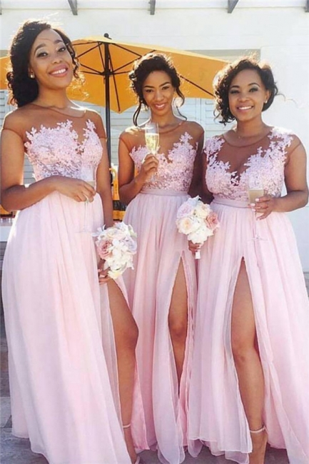 Pink Lace Chiffon Spring Bridesmaid Dresses UK Splits Long Dress for Maid of Honor Online BA6919