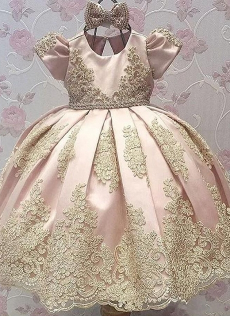Cute Appliques UK Flower Girl Dresses | Girl's First Communication Dresses With Bows