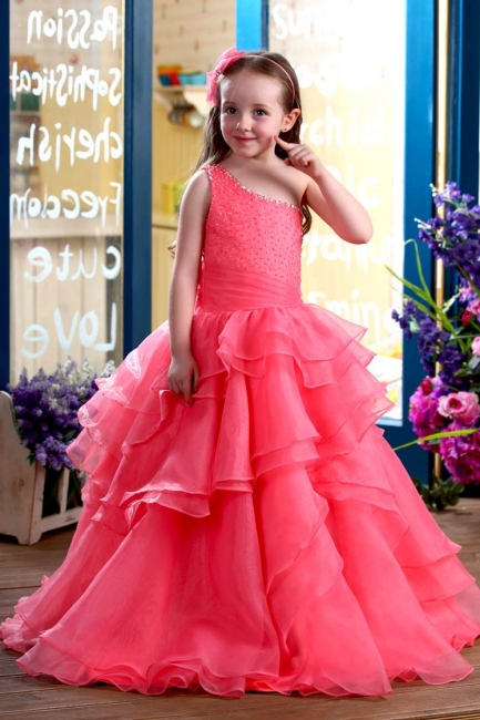 Modest Organza One-Shoulder Ruffles Long UK Flower Girl Dress