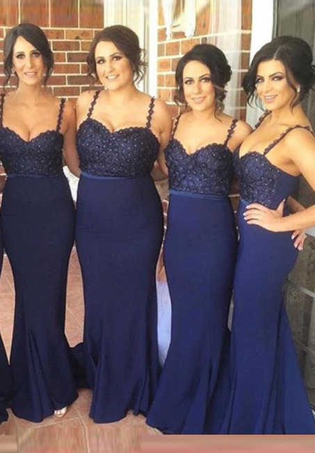 Cute Navy Spaghetti Strap Bridesmaid Dress Lace Beadings Long Wedding Party Dress