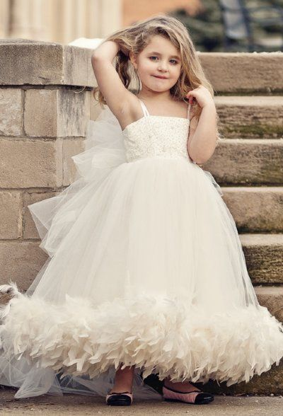 Spaghettis Tulle Feathers Cute UK Flower Girl Dresses Long Girl's Formal Dresses