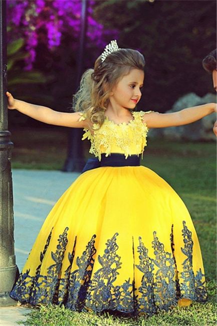 Little Princess Yellow Puffy Girls Pageant Dress Cute UK Flower Girl Dress with Black Lace MH006