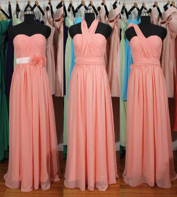 Simple Summer Chiffon Convertible Bridesmaid Gowns Ruffles Evening Dresses