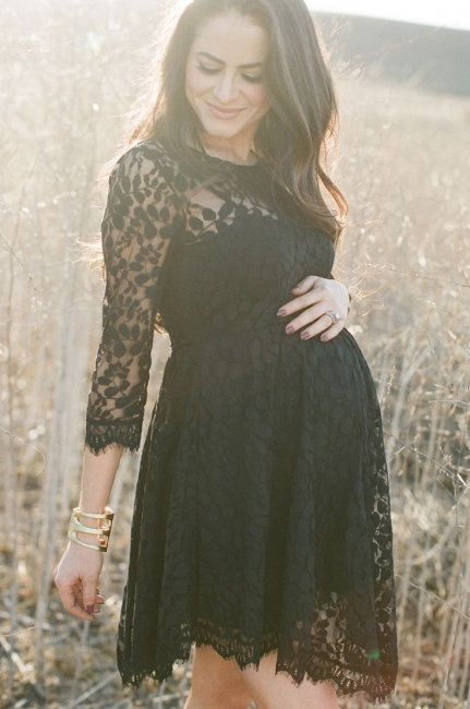 Elegant Black Lace Maternity Bridesmaid Dress with Sleeves Short Baby Shower Dresses BA3560