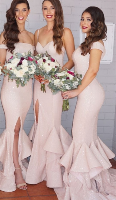 Sequins Sexy Trumpt Bridesmaid Dresses UK Pink Layers Train Side Split Spring Maid of the Honor Dresses