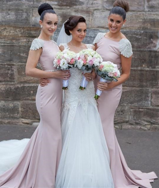 Modern Jewel Cap Sleeve Sexy Trumpt Bridesmaid Dress With Beadings