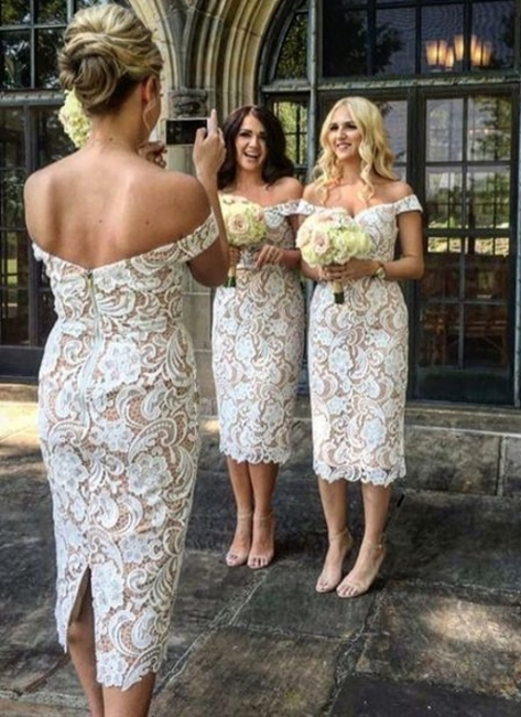 Off-the-Shoulder Bridesmaid Dresses UK | Lace Column Tea Length Maid of the Honor Dresses