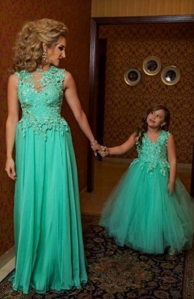 Green Cute Pretty Flower Girls Dresses Tulle Puffy Princess Cute Pageant Dresses