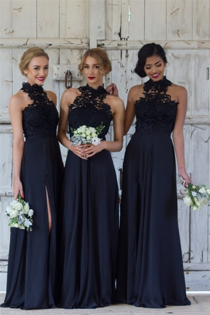 Halter Lace Chiffon Bridesmaid Dress with Split Sleeveless Cheap Spring Maid of Honor Dresses BA7430