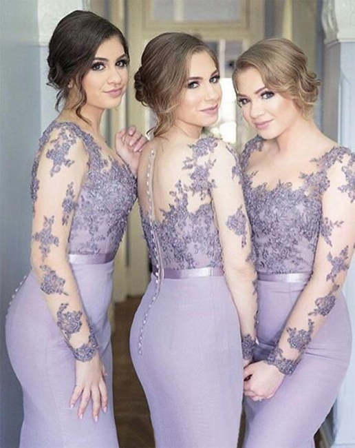 Long-Sleeve Lavender Lace Appliques Buttons Illusion Sexy Trumpt Popular Cheap Bridesmaid Dress On Sale
