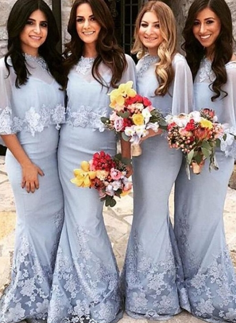 Elegant Butterfly Sleeves Bridesmaid Dresses UK | Lace Appliques Sexy Trumpt Wedding Party Dresses