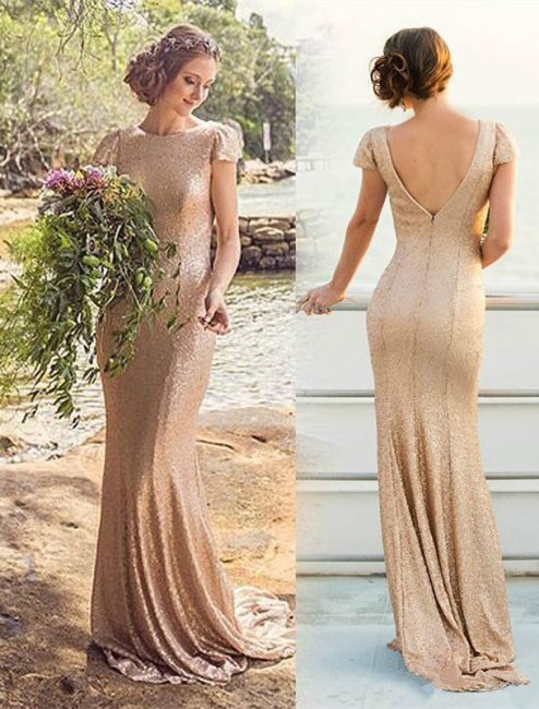 Elegant Sequined Short-Sleeve Zipper Long Bridesmaid Dresses UK
