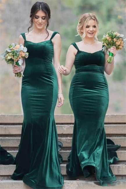 Straps Velvet Green Long Wedding Party Dresses Cheap Elegant Bridesmaid Dress