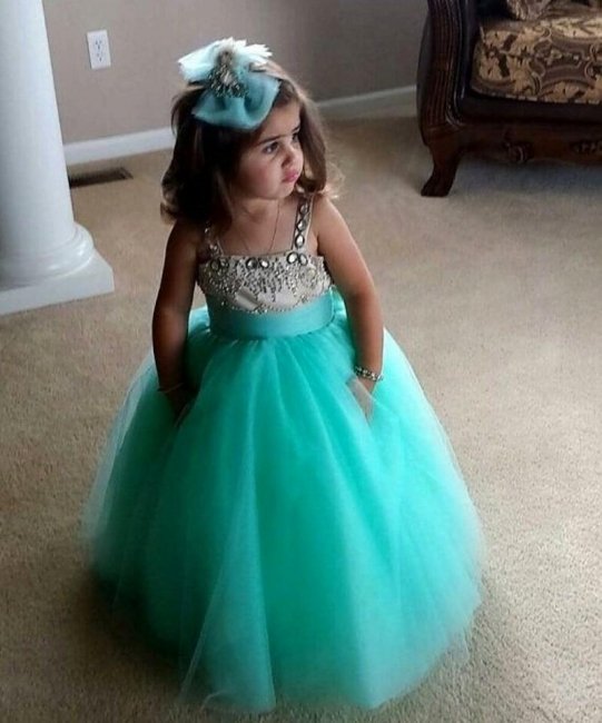 Cute UK Flower Girl Dresses Spaghetti Straps Crystal Beading Draped Cute Tulle Pageant Dress