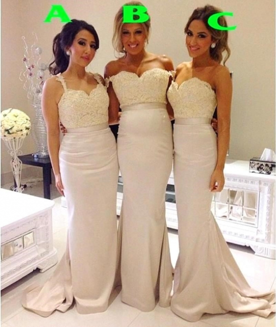 Lace Sexy Trumpt Bridesmaid Dresses UK Sweep Train Simple Party Gowns