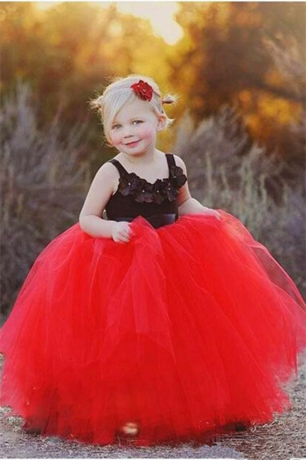 New Straps Black Red Tulle Pageant Ball-Gown UK Flower Girl Dress