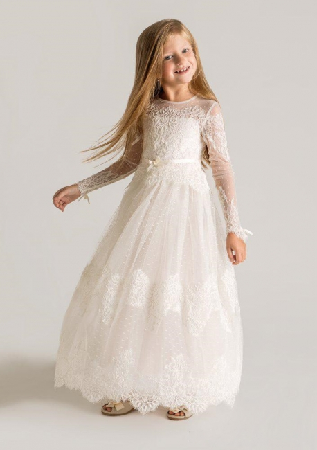 Modern Tulle Lace Modest UK Flower Girl Dress | Long Sleeve Girls Pageant Dress