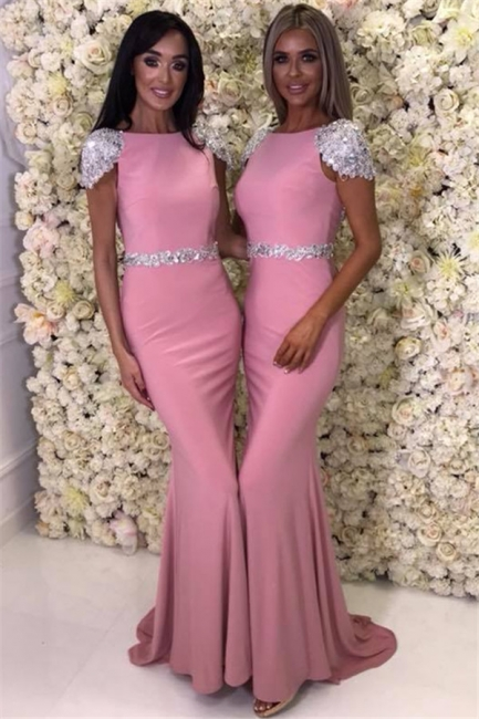 Cap Sleeve Silver Beads Crystals Bridesmaid Dresses UK Cheap | Open Back Spring Pink Maid Of Honor Dress