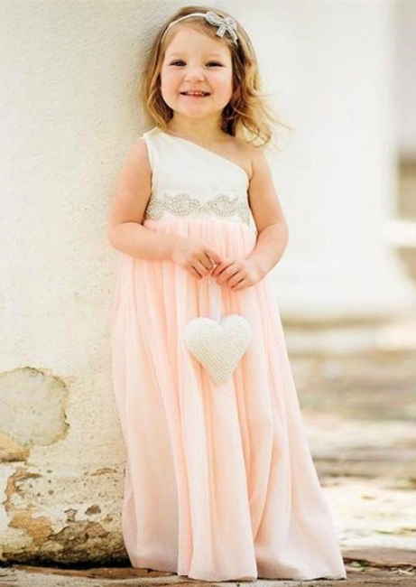 Delicate One Shoulder Chiffon UK Flower Girl Dress Pearls Girls Pageant Dress