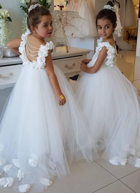 Exquisite Tulle Puffy UK Flower Girl Dresses | Scoop Juliet Flowers Girls Pageant Dresses