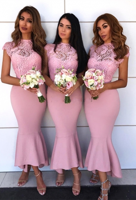Pink Sexy Trumpt Bridesmaid Dress | Lace Cap Sleeve Wedding Reception Dress