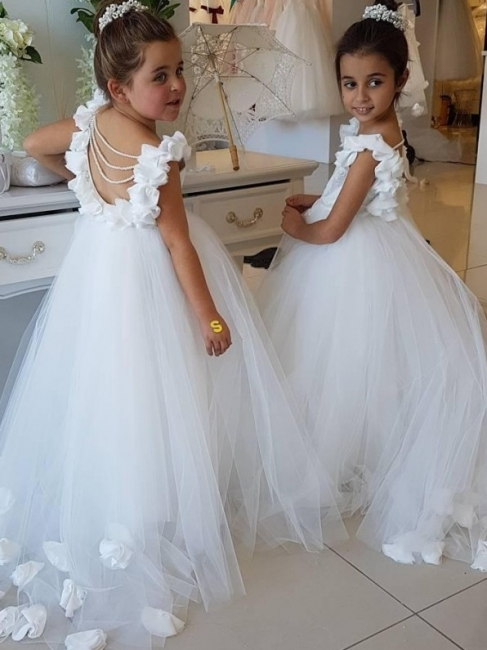 Cute Tulle Appliques Backless UK Flower Girl Dresses with Pearls