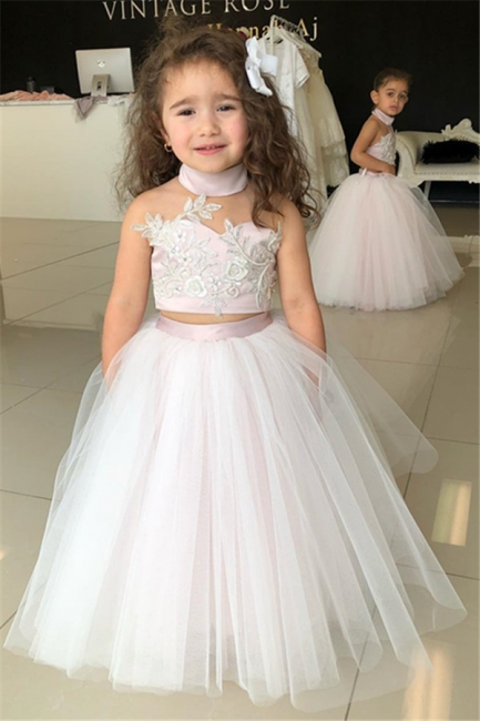 Cute Sweetheart Two-Pieces Appliques Tulle Pink UK Flower Girl Dresses
