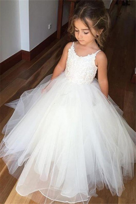 Cute Sleeveless Spaghetti Straps Lace UK Flower Girl Dresses | White Tulle Puffy Pageant Dresses