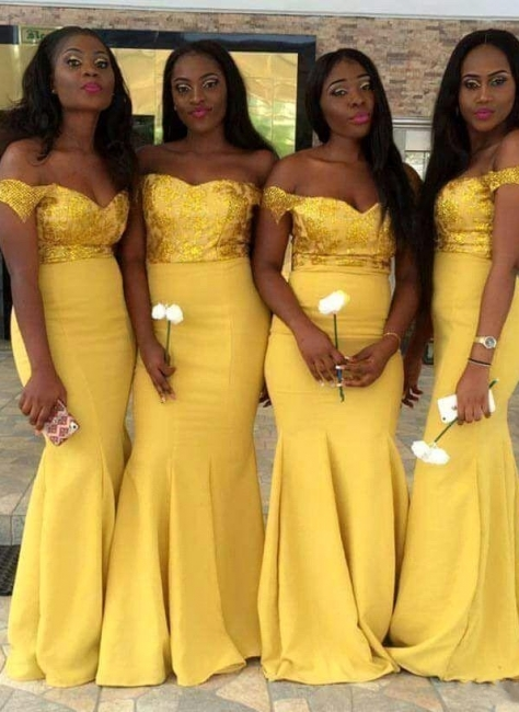 New Yellow Sexy Trumpt Bridesmaid Dresses UK | Sequins Off-the-Shoulder Maid of the Honor Dress