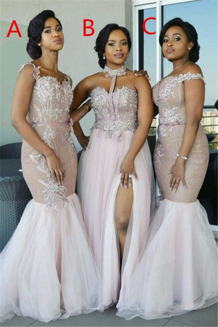 Elegant Pink Tulle Bridesmaid Dresses UK | Appliques Cheap Wedding Party Dress
