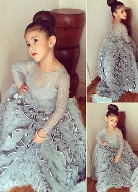 Grey Cloud Flower Girl's Dresses UK Lace Long Sleeves Tiers Long Stunning Girl's Pageant Dresses