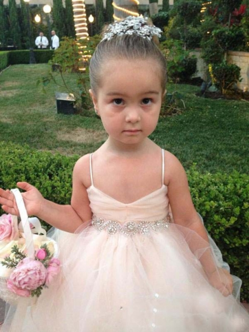 Cute Spaghetti Strap Tulle Princess UK Flower Girl Dress Bowknot