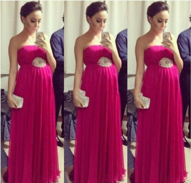 Empire Chiffon Long Strapless Sleeveless Simple Pregnant Bridesmaid Dress