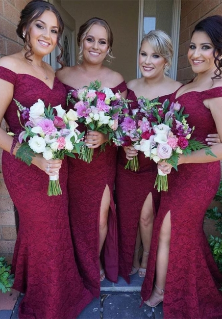 Cute Off-the-Shoulder Bridesmaid Dress | Sexy Trumpt Lace Maid of Honor Dress
