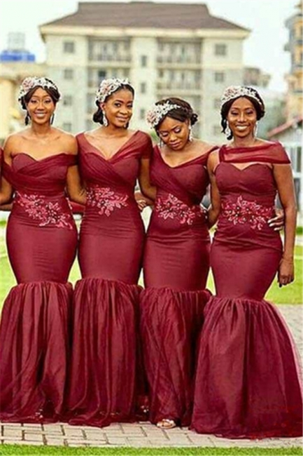 Burgundy Sexy Trumpt Long Bridesmaid Dresses UK | Cheap Appliques Beaded Maid of Honor