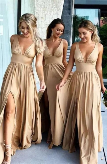 Elegant V-Neck Sleeveless Bridesmaid Dress | Bridesmaid Dress With Slit