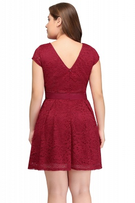 Summer Scoop Short Plus size With Sleeves Lace Burgundy Cocktail Dresses with Bow_9
