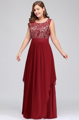 Summer Scoop Plus size Long Sleeveless Lace Appliques Chiffon Evening Dresses_4