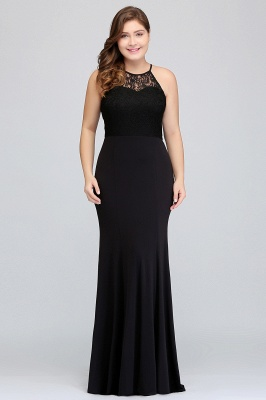 Sexy Trumpt Halter Floor Length Plus size Black Evening Dresses with Lace_5