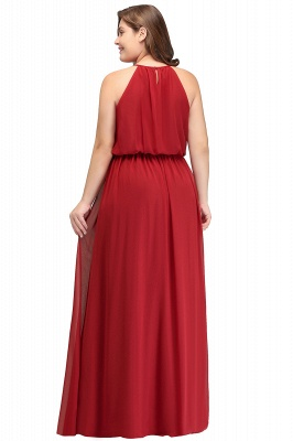 Summer Straps Floor Length Sleeveless Plus size Evening Dresses with Ruffles_3