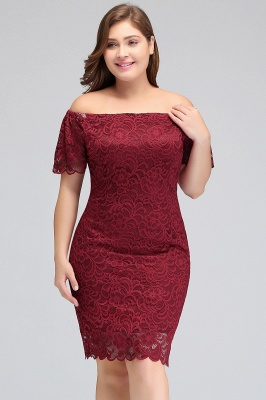 Sexy Trumpt Off-Shoulder Short Plus size Lace Burgundy Cocktail Dresses with Sleeves_6